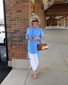 Fifty, not Frumpy. Beautiful flowing top and white leggings. Jessica Simpson sandals.