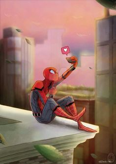 Spidey updating his Instagram. (Credit goes to Giadina96)