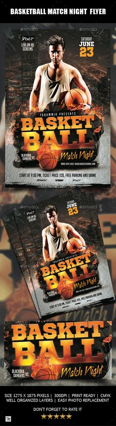#Basketball #Match #Night Flyer - Sports Events