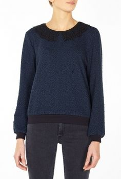 Navy Sweater with Black Collar Trim by Ganni