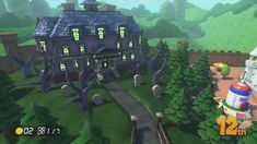(part Luigi's Mansion from Baby Park track in Mario Kart Baby Park, Luigi's Mansion, Mario Kart 8, Mansions Homes, Scenery, Halloween, Witches, Weapons, Youtube