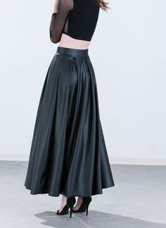 Aim To Pleats Faux Leather Maxi Skirt BLACK - GoJane.com