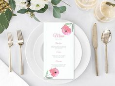 Items similar to 2 Sizes Greenery Menu Template Wedding Menu Printable Wedding Menu Template Menu Cards Menu Party Menu Printable Menu on Etsy Wedding Dinner Menu, Wedding Menu Cards, Wedding Reception, Wedding Stationary, Wedding Suite, Wedding Invitation, Invitations, Wedding Planner, Wedding Seating