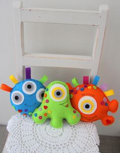Three Happy Monsters Felt Pattern & Instructions. Adorable!