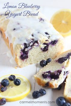 A delicious moist lemon bread studded with blueberries. Topped with a lemon glaze. Perfect bread to serve up in the summer.