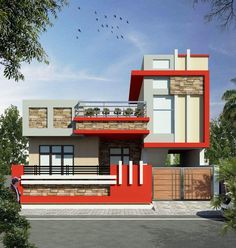 Saved by radha reddy garisa House Front Wall Design, House Outer Design, Single Floor House Design, House Outside Design, Unique House Design, Bungalow House Design, Front Elevation Designs, House Elevation, Compound Wall Design