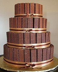 Who wouldn't like a nutty bar wedding cake.   Chocolate and peanut butter togethere yum.  And I think you can buy nutty bars at Sams in a 100 pack.