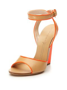Neon Accent Wedge Sandal