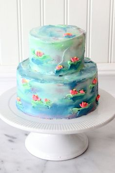 Watercolor Cake A waterlily cake Monet would be proud of! Cakes To Make, Cakes And More, How To Make Cake, Cupcake Decorating Tips, Cake Decorating Classes, Decorating Ideas, Cupcake Frosting Recipes, Cupcake Cakes, Tea Cakes