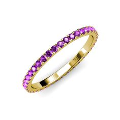 ctw* Round Pink Tourmaline and Lab Grown Diamond French Set Womens Eternity Ring Stackable Yellow Gold Prongs Sapphire Eternity Ring, Sapphire Band, Eternity Bands, Gemstone Engagement Rings, Lab Created Diamonds, Pink Tourmaline, Diamond Studs, 18k Gold, Color Stone