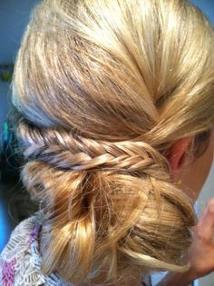 Side bun updo with fishbone braid  www.weddingsbycrystal.com