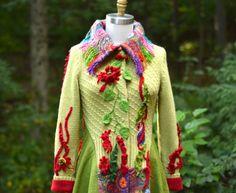 Long boho Sweater COAT fantasy wearable art by amberstudios