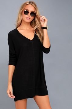 820dc89077a Estes Park Black Long Sleeve Sweater Dress
