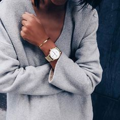 Knitwear matched with TRIWA Ivory Klinga Gold Mesh and Bracelet N02 in Brass…
