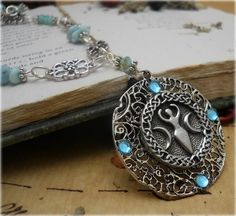 Goddess of Atlantis Necklace with Larimar Gemstones Wiccan Jewelry New Age | eBay