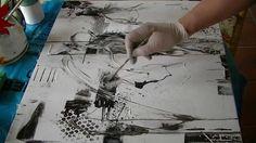 papel de diario  pinturas acrilicas blanco y negro dif texturas