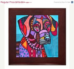 50% Off- Rhodesian Ridgeback art framed tile ceramic wood frame print of painting Ready to Hang (HG775)