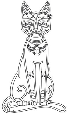 This ancient Egyptian cat goddess was known for her prowess and represents maternal instincts. Stitch in gold thread for a regal look! Downloads as a PDF. Use pattern transfer paper to trace design for hand-stitching.