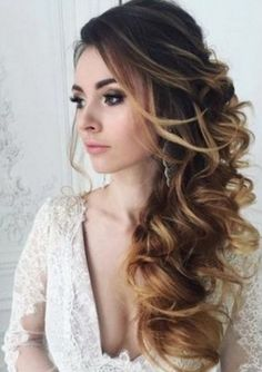 I like this off to the side and curled...maybe with a flower head piece