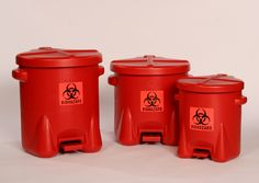 Provide your employees with a safe, easily visible place to dispose of dangerous material with this red biohazard trash can featuring a foot-operated lid. Medical Waste Management, Upstairs Bathrooms, Kid Bathrooms, Hazardous Waste, Waste Container, Kid Bathroom Decor, Waste Disposal, Dorm Life, New Homes