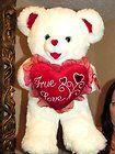 """For Sale - HUGE Beautiful Plush 22"""" True Love Heart White Teddy Bear Dan Dee 2004 Doll NEW"""