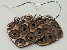 polka dotted bronze clay earrings | by mybrownwren