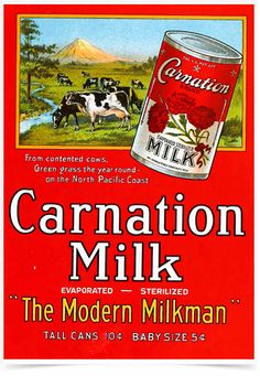Poster Propaganda Bebidas Carnation Milk - Decor10