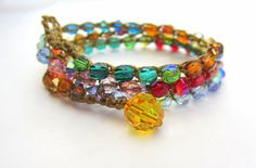 Gods Promise colorful rainbow crocheted wrap bracelet by Sydnejo, $30.00
