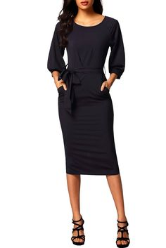 Ready to ship: Chicloth Black Pu.... http://chicloth.com/products/chicloth-black-puff-sleeve-belt-chiffon-pencil-dress?utm_campaign=social_autopilot&utm_source=pin&utm_medium=pin