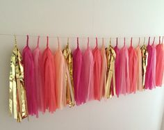 Tassel Garland || Palm Springs || Pink, Coral, Peach & Gold Tissue and Foil