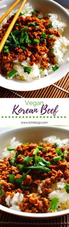 Vegan Korean Beef Rice Bowl - Kim Blogs