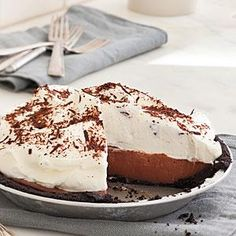 Rebecca's Black Bottom Icebox Pie Recipe | MyRecipes.com--made this for my husband's birthday and it was WONDERFUL!  Couldn't find the Famous Wafers so just used chocolate graham crackers.  They were perfect!