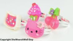 Children's RingsSet of FOUR Rings Pink Hello by SheWearsitWell, $12.00