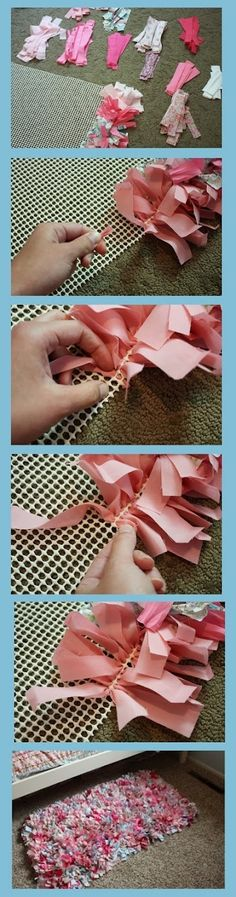 Diy Projects: DIY Handmade Rag Rug Tutorial by carlene Crafts To Make, Fun Crafts, Arts And Crafts, Baby Crafts, Fabric Crafts, Sewing Crafts, Scrap Fabric, Fabric Rug, Extra Fabric