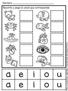 Vocales Preschool Education, Preschool Worksheets, Preschool Activities, Teaching Kids, Bilingual Education, Alphabet Worksheets, Image Restaurant, English Grammar For Kids, Spanish Lessons For Kids