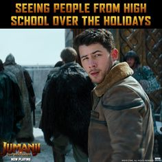 Why not spend your holidays with Nick Jonas and Now playing in theaters everywhere! Funny Relatable Memes, Funny Texts, Jumanji Movie, Nick Jonas Smile, Jonas Brothers, Movie Trailers, Good Movies, The Funny, Humor