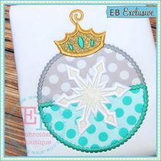 The second zip file allows you to make a standalone ornament (removes the satin stitch hook) or if you skip the last step (back of the ornament) you can make an applique perfect to use all year. Crafts For Teens To Make, Crafts To Sell, Easy Crafts, Diy And Crafts, Snowflake Ornaments, Snowflakes, Applique Designs, Embroidery Designs, 2nd Birthday Outfit