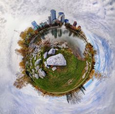 """Calgary Planet by The Photo Fiend, via 500px-""""A mini planet of downtown Calgary made from an equirectangular shot I got from stitching 6 shots from my 8mm fisheye."""""""