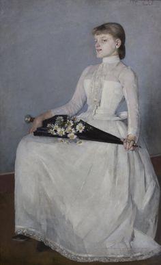 """""""Ze spaceru (Dama w białej sukni)"""", 1889, wł. Muzeum Narodowe w Krakowie."""