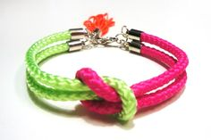Climb rope bracelet with tassel in multi neon colors.