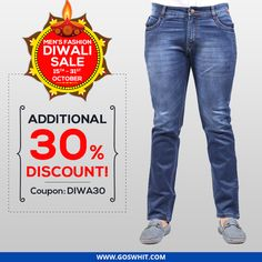 Get comfort and elegance altogether with Goswhit jeans and t-shirts. Moreover grab additional 30% discount on purchase of 2399 or more. Use Coupon Code – DIWA30. Shop with http://qoo.ly/bn7f7  #Comfort #Elegance #DenimJeans #Tshirts #Discount #offers