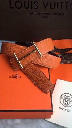 Hermes unisex woman man Togo leather belt orange