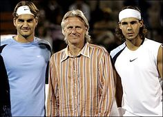 Three of the best, Roger Federer, Bjorn Borg, Raphael Nadal. This is VERY nice!
