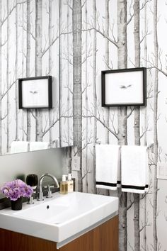 peel and stick wallpaper Bathroom Contemporary with bridge faucet birch tree wallpaper
