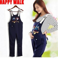 26.43$  Buy here - http://aio3w.worlditems.win/all/product.php?id=32610750855 - Spring & Autumn Cotton+Polyester Cartoon Owl Maternity Suspender Trousers Belly Pants Overalls For Pregnant Women
