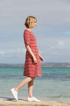 A new way to wear classic Breton stripes. The Stay Sail Dress is inspired by the original authentic Breton jerseys, but made from slightly heavier weight pure organic cotton for a premium feel. Falling below the knee, it has a defined waist for a feminine silhouette. With a boat neck and flattering half sleeves. Wear it with loafers or sandals for a fun, nautical look. 100% Organic Cotton