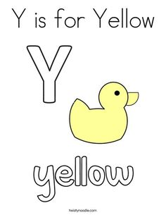 Y is for Yellow Coloring Page - Twisty Noodle Letter Y Worksheets, School Sports, Kids Prints, Cursive, Noodle, Coloring Pages, Texts, Lettering, Templates