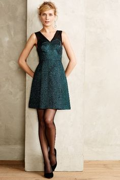 Emerald Facet Flared Dress - anthropologie.eu
