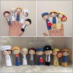 Finger Puppets Amigurumi - Free English Pattern here: http://doubletrebletrinkets.co.uk/2016/02/13/finger-puppets/