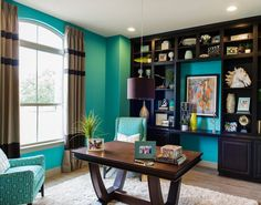 Turquoise home office study.  Perfect for the beach house.  House of Turquoise: Michelle Thomas Design